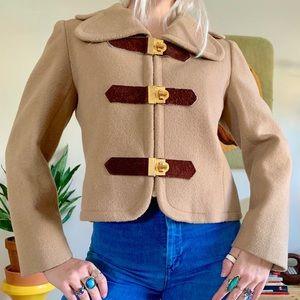 Vintage 60s mod cropped camel wool jacket S/M